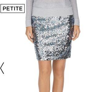 WHBM gray sequin mini skirt Petite